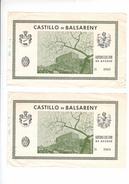 (n°4) Tiket D'acces CASTILLO De BALSARENY Autorizacion De Acceso BARCELONA BARCELONE 1961 - Tickets D'entrée