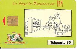 CARTE°-PUCE-PRIVEE-PUBLIC- 50U-EN 760a-GEMA-10/93- 2é Logo-BINGO Des MARQUES-Piem-UTILISE-TBE - France