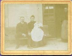 Photo Sur Carton - Couple Devant La Gare De Laveline Devant Bruyères - Trains