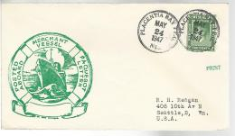 34821 ) Canada Newfoundland Railway TPO Postmark Cancel  1947 N67 To USA Nothing On Back - 1908-1947