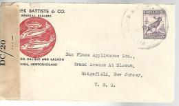 34824 ) Canada Newfoundland Railway TPO Postmark Cancel N75 Michaud To USA Nice C/c Fish No BS Censored - 1908-1947