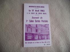 1ER SALON CARTES POSTALES ..BERNES SUR OISE 1983 - Bourses & Salons De Collections