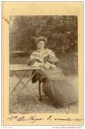 Alice Verzieux , Jeune Femme , Lisant Au Jardin .  PHOTO  CABINET ALBUMINEE . - Old (before 1900)