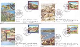 Italia 1991 - Turistica In 4 FDC (Sanremo, Cagli, Roccaraso, La Maddalena) - FDC