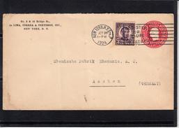 U.S.POSTAGE  Entier 2c De  N.Y.  Le 28 OCT 1924 Pour AACHEN Allemagne + Complement 3c  Entete PUB