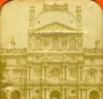 France Paris Le Louvre Façade Ancienne Photo Stereo Tissue 1870 - Stereoscopic