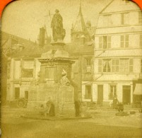 France Rouen Statue De Jeanne D'Arc Ancienne Photo Stereo Tissue 1870 - Fotos Estereoscópicas