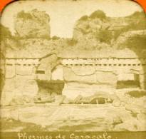 Italie Rome Roma Thermes De Caracalla Ancienne Photo Stereo Tissue 1870 - Stereoscopic