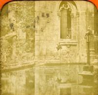 Espagne Catalogne Barcelone Le Cloitre Ancienne Photo Stereo Tissue 1870 - Photos Stéréoscopiques