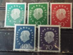 Série 5 Timbres Neuf Allemagne RFA 1959 : 75è Anniversaire Du Président Théodor Heuss - Neufs