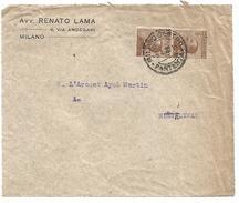 ITALIE DEVANT DE LETTRE DE MILAN POUR LA FRANCE 1922 - Affrancature Meccaniche Rosse (EMA)
