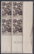 Maroc N° 246 XX Série Courante : 10 C. Sépia, En Bloc De 4 Coin Daté Du 24 . 10 . 47 ; Sans Charnière, TB - Unused Stamps