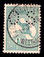 Australia 1916 Kangaroo 1 Shilling Green 2nd Watermark Perf OS Used - Superb - 1913-48 Kangaroos