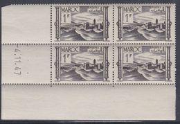 Maroc N° 251 XX Série Courante : 1 F. Brun-noir, En Bloc De 4 Coin Daté Du 4 . 11 . 47 ; Sans Charnière, TB - Unused Stamps