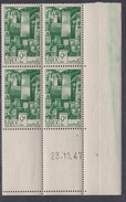 Maroc N° 253 XX Série Courante : 2 F. Vert, En Bloc De 4 Coin Daté Du 23 . 10 . 47 ; Sans Charnière, TB - Unused Stamps