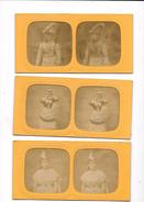 Lot De 3  Cartes Stéréoscopiques : Scène Familiales, - Stereoscopische Kaarten