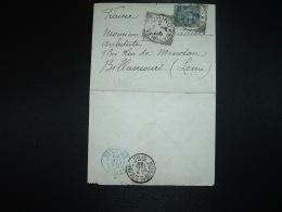 LETTRE (PLI) TP 5 C OBL.2 7 92 TORINO à Mr Georges PRADELLES Architecte à BILLANCOURT (92) + OBL.BLEUE PARIS ETRANGER - 1878-00 Umberto I