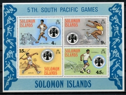 Solomon Islands, 1975, South Pacific Games, Running, Jump, Javelin, Soccer, Football, MNH, Michel Block 3 - Salomon (Iles 1978-...)