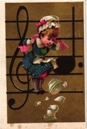 6 Cards C1900 Litho Les Notes Musical Notes Re Raie Si Scie Do Dodo Mi Mie Sol Seul  Fond D'Or  Blanco Reverse - Autres