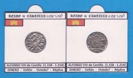 REINO DE CASTILLA (1.157 - 1.217) ALFONSO VIII De Castilla (1.158 - 1.214) DINERO Vellón Oviedo Réplica T-DL-11.768 - Monedas Falsas