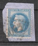 Empire Lauré N° 29 Obl GC 5005 De ALGER, Algérie  Sur Fragment, TB - 1863-1870 Napoléon III Lauré