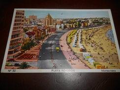 B667 Montevideo Playa Pocitos Viagg.cm9x14 Pieghina Angolo - Uruguay