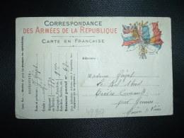 CP ARMEES DE LA REPUBLIQUE AUX 6 DRAPEAUX Datée 21-4-15 + Adjudant GOIZET 77e Rt 1er Cie SP 67 Pour GENNES (49) - Guerra De 1914-18
