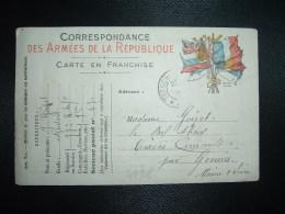 CP ARMEES DE LA REPUBLIQUE AUX 6 DRAPEAUX OBL.25? ? + Adjudant GOIZET 77e Rt 1er Cie SP 67 Pour GENNES (49) - Guerra De 1914-18