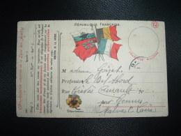 CP ARMEES DE LA REPUBLIQUE AUX 4 DRAPEAUX Datée 19/11 1914 à Mme GOIZET à GENNES (49) - Guerra De 1914-18