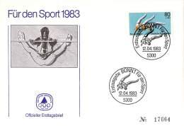 Bund 1983  Offizieller Ersttagsbrief # 17664 Der Stiftung Deutsche Sporthilfe 1983  Turnen - Gimnasia