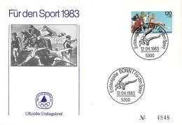 Bund 1983  Offizieller Ersttagsbrief # 4848 Der Stiftung Deutsche Sporthilfe 1983  Mit SSt Ringen - Lucha