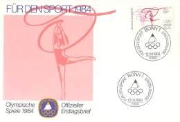 Bund 1984  Offizieller Ersttagsbrief  Der Stiftung Deutsche Sporthilfe  Turnen - Verano 1984: Los Angeles