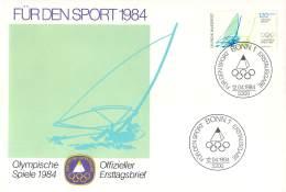 Bund 1984  Offizieller Ersttagsbrief  Der Stiftung Deutsche Sporthilfe  Segeln - Verano 1984: Los Angeles