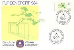 Bund 1984  Offizieller Ersttagsbrief  Der Stiftung Deutsche Sporthilfe  Athletik - Verano 1984: Los Angeles