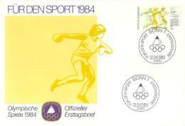 Bund 1984  Offizieller Ersttagsbrief  Der Stiftung Deutsche Sporthilfe  Diskus Werfen - Verano 1984: Los Angeles