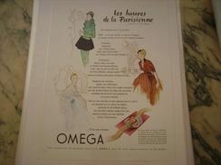 ANCIENNE PUBLICITE MONTRE OMEGA 1952 HEURE PARISIENNE - Bijoux & Horlogerie