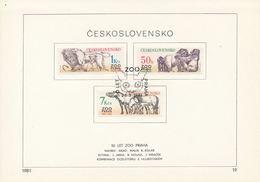 Czechoslovakia / First Day Sheet (1981/19) Praha: 50 Years ZOO Praha 1931-1981 (lions, Gorillas, Przewalski Horses)