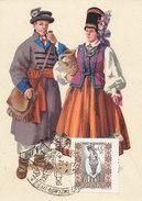 D28245 CARTE MAXIMUM CARD 1957 POLAND - FOLKLORE COSTUMES - IMPERFORATED STAMP CP ORIGINAL - Costumes