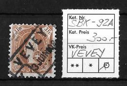 STEHENDE HELVETIA Gezähnt → SBK-92A, Fahrpost VEVEY 3.JUNI 08 - Oblitérés