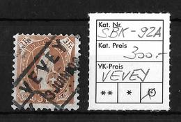 STEHENDE HELVETIA Gezähnt → SBK-92A, Fahrpost VEVEY 3.JUNI 08 - 1882-1906 Armoiries, Helvetia Debout & UPU