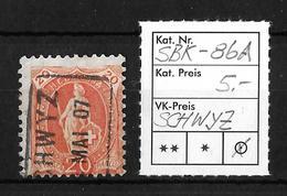 STEHENDE HELVETIA Gezähnt → SBK-86A, Fahrpost SCHWYZ Im MAI 07 - 1882-1906 Armoiries, Helvetia Debout & UPU
