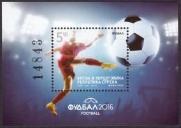 Bosnia Serbia 2016 Sport, Football, Soccer, UEFA, France, Euro 2016, Block MNH - Bosnie-Herzegovine