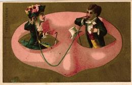 6 Cards C1900 Litho Masks Masques Réconcilation Présentation Intimidation Persuasion Séparation Liaison - Old Paper
