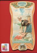 ART NOUVEAU SAVON LA CHAT  CHROMO CALENDRIER GOOSSENS  1904 PAYS HOLLANDE BLANCHISSEUSE LAVOIR MOULIN - Trade Cards