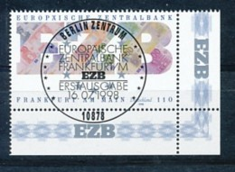 GERMANY Mi. Nr. 2000 Europäischen Zentralbank In Frankfurt Am Main - ESST Berlin - Eckrand Unten Rechts - Used - BRD