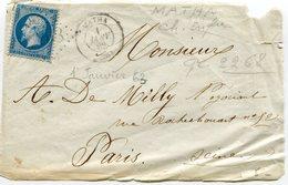 CHARENTE MARITIME De MATHA GC 2268 Sur N°22 Sur Devant De Lettre Du 01/01/1863!!!!!!!!!!!!!!!!!!!!!!!!!!!! - 1849-1876: Période Classique