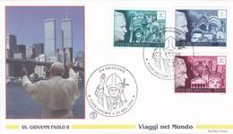 Vatikan, 1996. Papstreisen ,  Mi: 1190  Asien +1191 CSR Polen + 1195 USA, UNO ,  FDC - Vatican