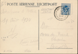 BELGIQUE  1934 AIR MEETING OOSTENDE LUCHTVAARSTATION 19.08.1934 - Marcophilie