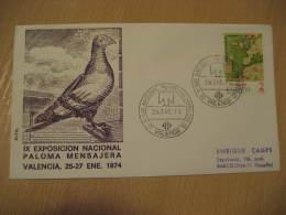 MESSENGER PIGEON VOYAGEUR DOVE PALOMA MENSAJERA Valencia 1974 Cancel Cover Spain - Pigeons & Columbiformes