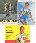 3  CARTES CYCLISTE VINCENT  BARTEAU   SIGNEES - Radsport